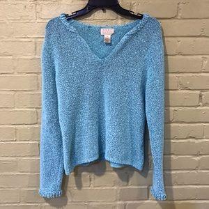 Blue Sigrid Olsen Essentials V Neck Sweater